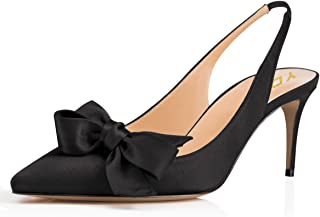 Women Pointed Toe Slingback Slip on Dress Pumps Stiletto Mid Heels Evening Prom Sandals with Bows