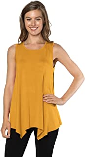 Velucci Womens Tunic Tank Top T-Shirt - Loose Basic Sleeveless Tee Shirt Blouse
