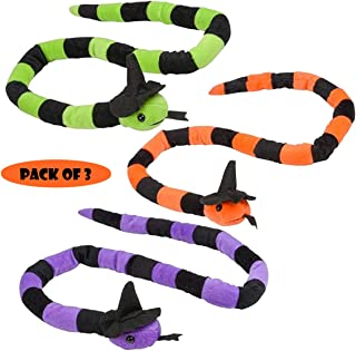 "Halloween Plush Snake 42"" with Witches' Hat, Forest & Twelfth Kids, Pack of 3 Different Bright Colors – Fun Stuffed Snakes for Halloween, Birthday Parties and Kids Themed Parties Decoration"