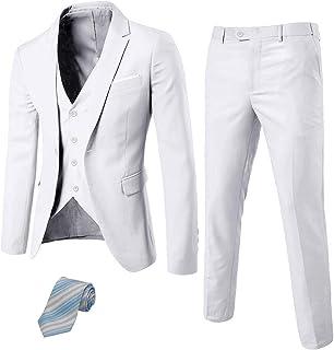 MY'S Men's 3 Piece Suit Blazer Slim Fit One Button Notch Lapel Dress Business Wedding Party Jacket Vest Pants & Tie Set