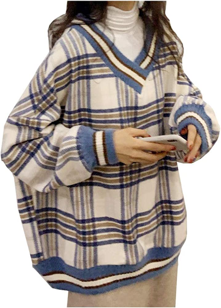 CYLADY Women's V-Neck Plaid Pullover Sweatershirt Loose Long Sleeve Tops