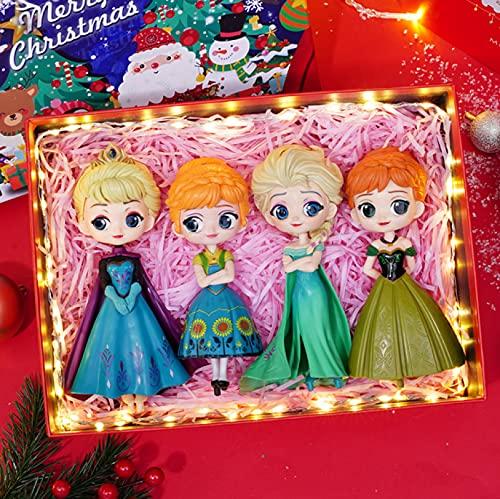 4 Piezas 14 Cm Juguete Congelado Cenicienta Elsa Ariel Princesa Figuras PVC Modelo Princesa Juguetes para Niñas Niños Juguetes Regalo (Caja De Regalo)