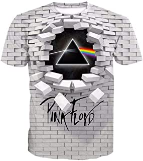 lvyouyouMM Fashion Unisex Pink Floyd 3D Print T Shirt,Graphic Pattern Crewneck Short Sleeve Tees
