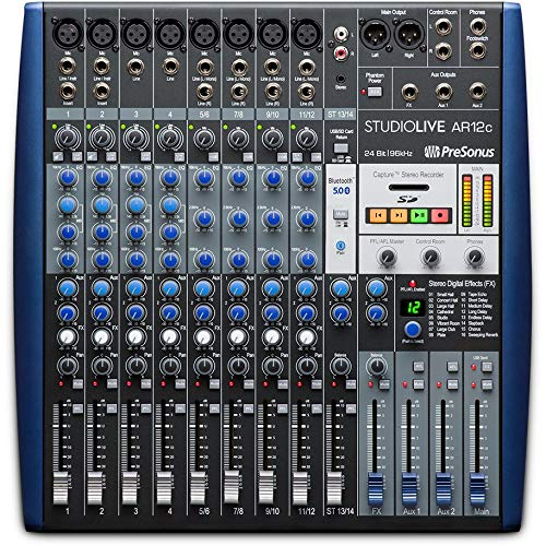PreSonus StudioLive AR12c 14-Kanaliges USB-C -kompatibles Audio-Interface/Analog-Mischer/Stereo-SD-Recorder