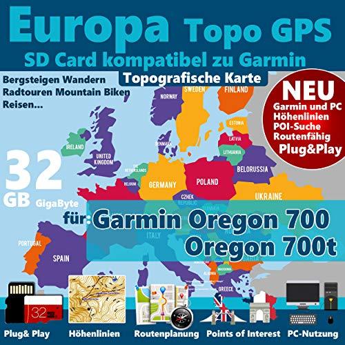 ★Europa Outdoor Topo GPS Karte auf 32GB MicroSD-Card Navigation für Garmin Oregon 700, Oregon 700t ★ GELD-ZURÜCK-GARANTIE
