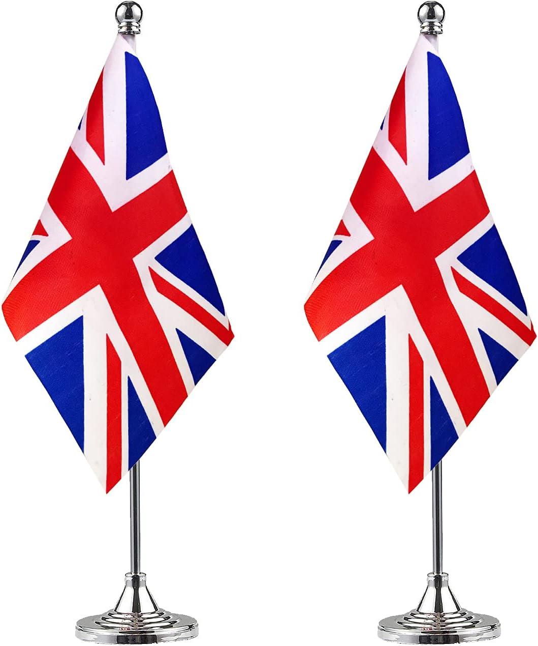 Super Special SALE held ZXvZYT 2 Pack United Kingdom flag British Table Flag Small Mini Arlington Mall