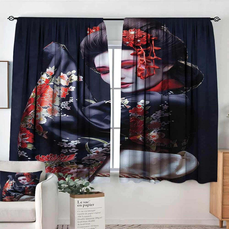 Japan,Boy's Iving Room Curtain Geisha in Kimono with Sakura 42 X72  Indo Treatments for Short Indo