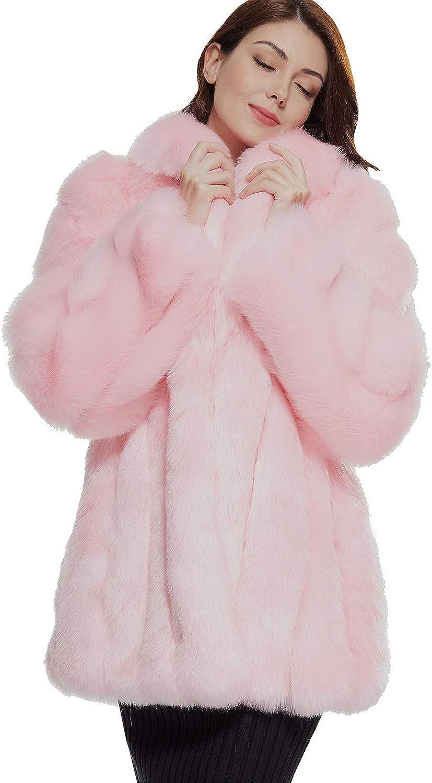 Beayonyua Womens Winter Warm Faux Fur Coat Outwear Lapel Cardigan Casual Long Fleece Outwear Thick Top Coat Jacket