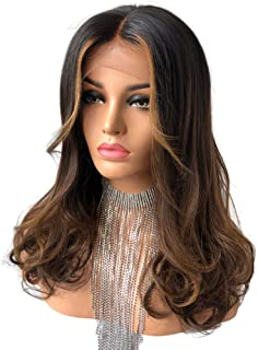 Cbwigs Glueless Ombre Brown Long Wavy Lace Front Wig Brazilian Remy Human Hair Wigs 150% Density 16 inch (Bleached Knots w...
