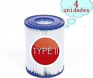 JXING - Cartucho de filtro para piscina, tamaño 2, para Bestway, accesorio para piscina, filtro antisuciedad, cartucho de filtro de repuesto (4 unidades)