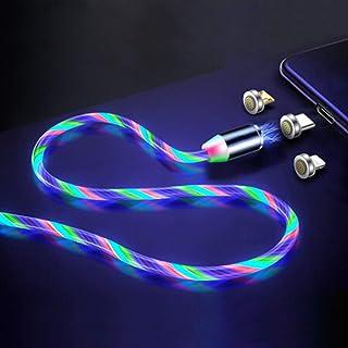 كابل شحن مغناطيسي LED من اي تريند - كابل شاحن 3 في 1 (iProduct/Type-C/Micro USB)، 3 قدم، متعدد الألوان