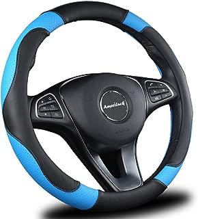 AmeriLuck Steering Wheel Cover for Car, Universal 15 inch, Odorless, Breathable, Anti-Slip, Sporty, Soft and Snug Grip (Micro Fiber, Blue   Black)