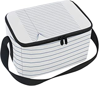 Lunch Box with Funny Lines Boat Print, Lunch Bag Insulated Cooler Picnic Bags with Shoulder Strap for School Picnic