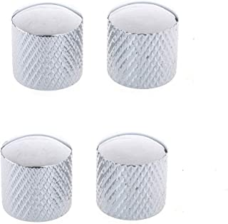 Musiclily Guitar Metric Metal 6MM Knurling Shaft Dome Top Control Knobs, Chrome(Pack of 4)