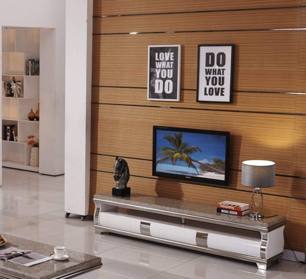Mueble para TV LGFSG Mármol Natural de Acero Inoxidable Mueble de televisión Moderna Sala de Estar Muebles para el hogar TV led TV encimera Mesa de TV, Blanco: Amazon.es: Electrónica
