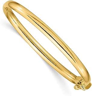 Mia Diamonds 14k Yellow Gold Satin Textured Hinged Bangle Bracelet