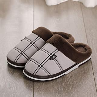 Winter Couple Cotton Slippers Indoor Warm Autumn Non Zhaozb (Color : Khaki, Size : 14)
