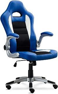 Belleze Gaming Office Chair Racing Bucket High Back Ergonomic Computer w/Flip Armrest, Blue