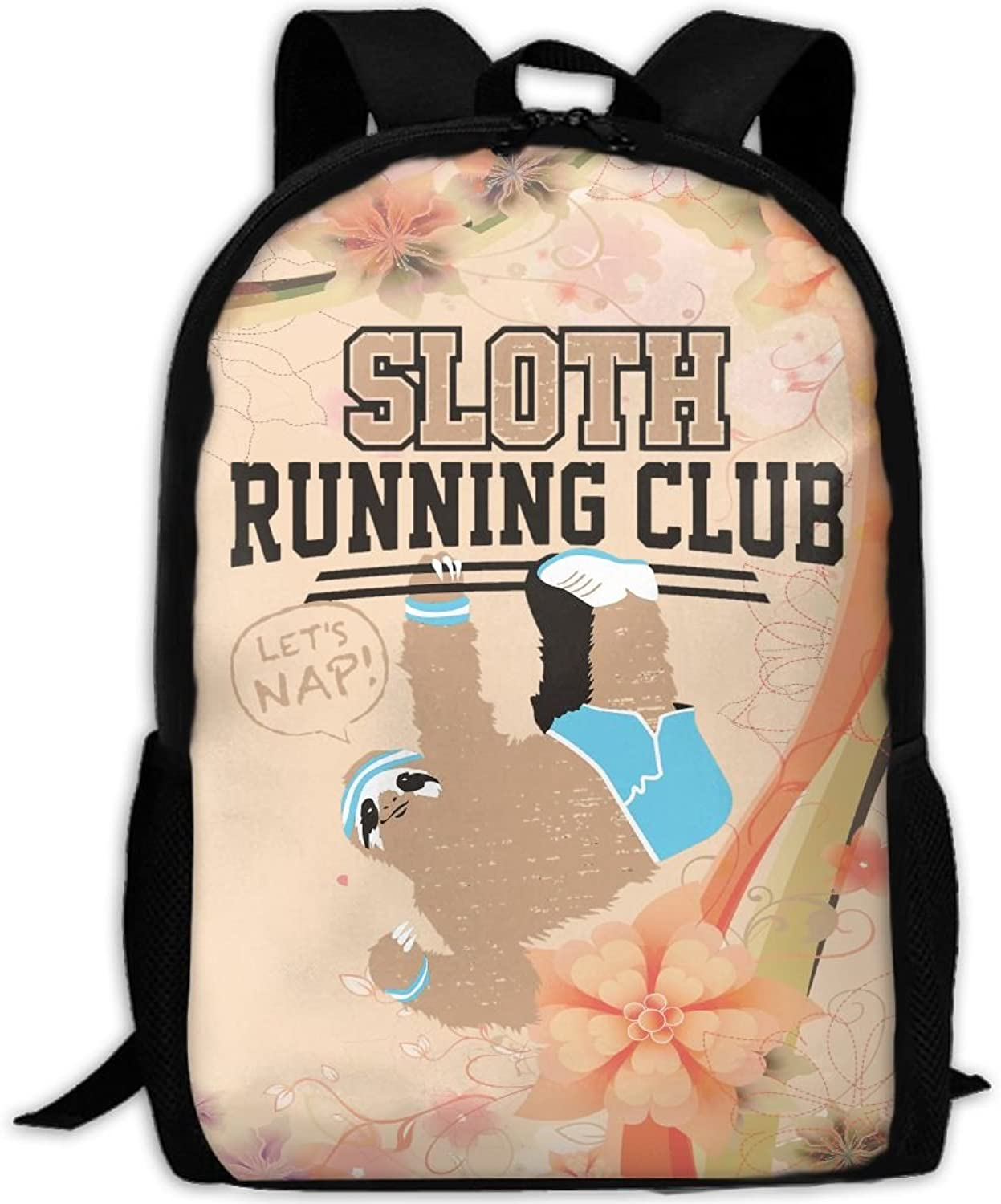 Adult Backpack Sloth Running Club College Daypack Oxford Bag Unisex Business Travel Sports Bag with Adjustable Strap