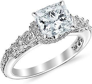 1.35 Carat Princess Cut Designer Four Prong Round Diamond Engagement Ring (D-F Color, VS2-SI1 Clarity Center Stone)