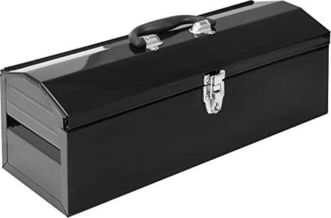"""Torin ATB101B 19"""" Hip Roof Style Portable Steel Tool Box with Metal Latch Closure and Removable Storage Tray, Black: image"""
