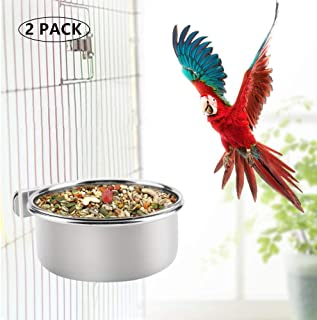 DoubleWood 2 Pcs Pet Food & Water Bird Cups Stainless Steel Coop Cup Feeding Dish Feeder for Parrot Macaw African Greys Budgies Parakeet Conure Finch Small Animal Cage Bowl