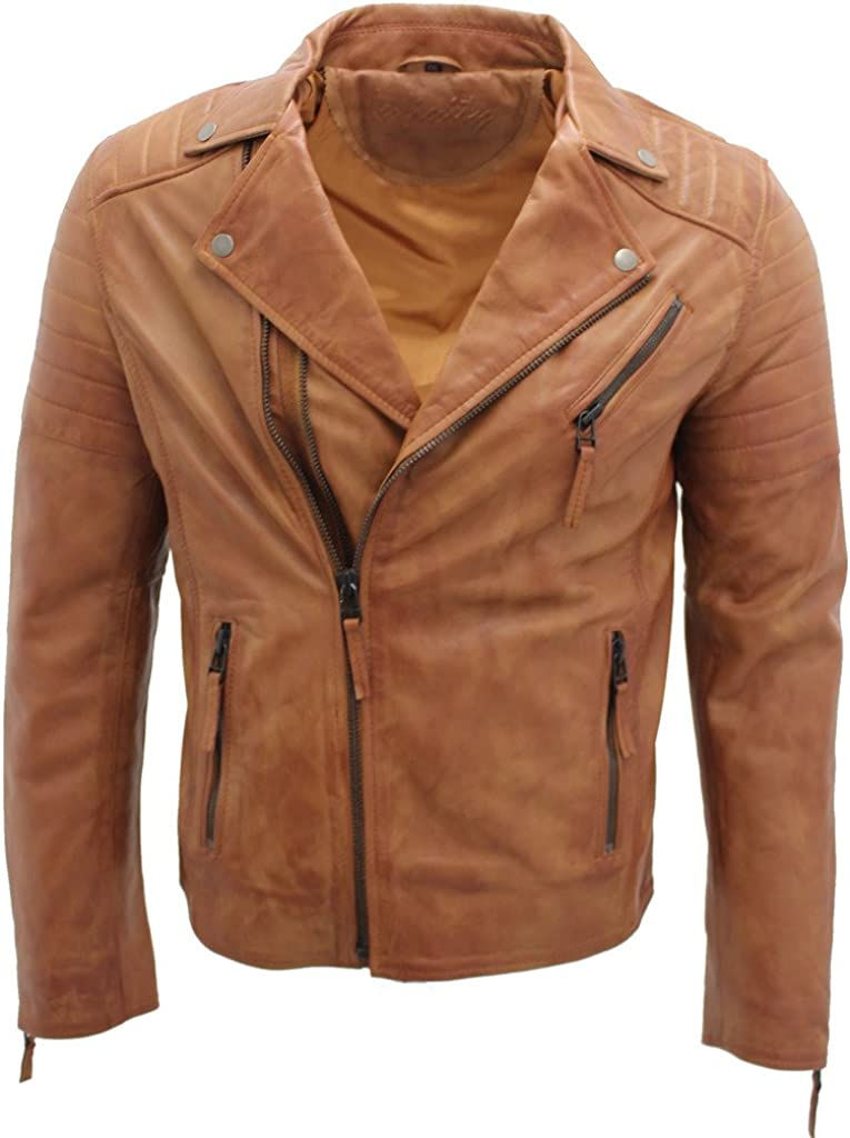 Men's Tan Slim Fit Cross Zip Vintage Brando Leather Biker Jacket