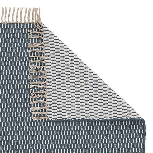 URBANARA Läufer Upani - 100% Baumwolle 80x250 cm Handgewebt Zweifarbig Petrol/Natur mit Fransenkante - Care & Fair Zertificat