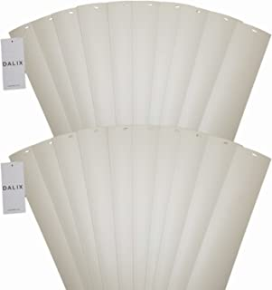DALIX PVC Vertical Blind Replacement Slats Curved Smooth Ivory 58.5 Length 20 Pack
