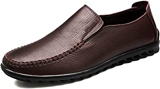 SHENTIANWEI Driving Loafer for Men Boat Shoes Slip on Genuine Leather Casual Lightweight Anti-Slip Soft Flat-Heeled Stitching Round Toe (Color : Brown, Size : 6 UK)