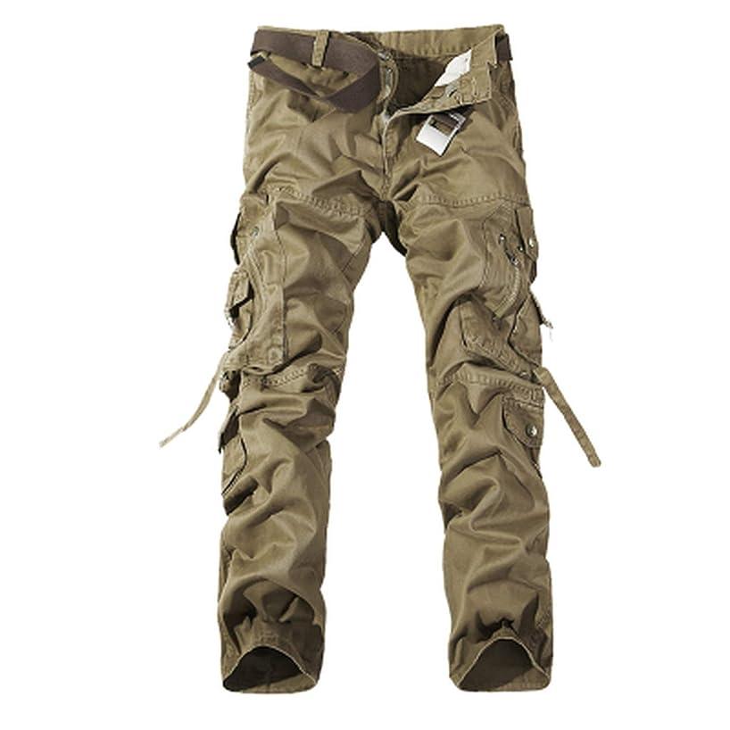 romantico 2019 Men Cargo Pant Casual Men Multi-Pocket Overall Combat Cotton Trousers Army Casual Joggers Pants,Khaki,28
