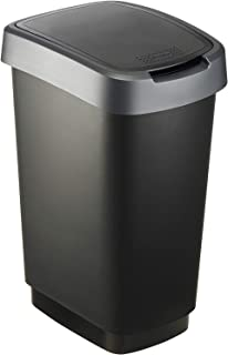 Rotho, Twist, Afvalbak 25l met deksel, Kunststof (PP) BPA-vrij, zwart/zilver, 25l (33,3 x 25,2 x 47,6 cm)