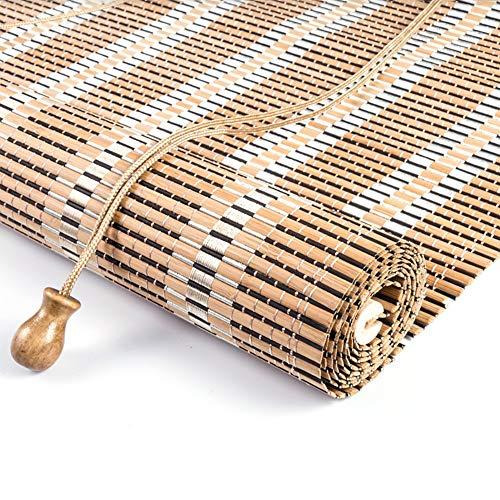 Stores enrouleurs Blackout Stores enroulables en bambou avec crochets, stores à enrouleur de jardin soleil pour abri de jardin Gazebo pour cloison de salon de jardin de balcon, largeur de 80 à 140 cm