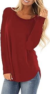 Women's Long Sleeve Shirts Basic Tee Tops High Low Loose Crew Neck Casual Tunic