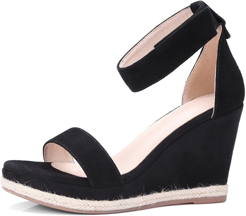 1TO9 Womens Hook-and-Loop Wedges Platform Lambskin Platforms Sandals MJS02703