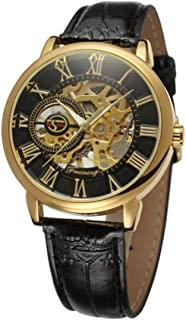 Men's Watch hollow manual machine belt watch 3D Hollow Dial Mechanical Watch (F)