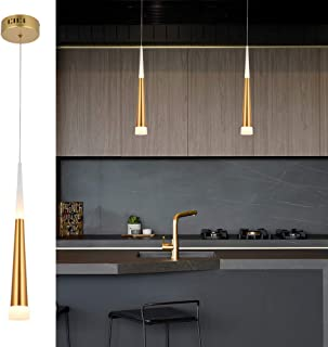 POPILION Modern Simple Gold LED Island Pendant Light,in Aluminum and Arclic Cone Shade with Adjustable Cord, 5W and 2W 3000K Perfect for Kitchen Island Bar Dining Room Living Room,1 Pack