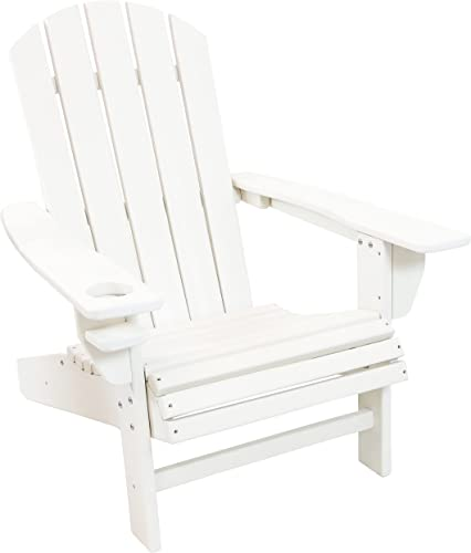 high quality Sunnydaze All-Weather Outdoor Adirondack Chair high quality with Drink Holder sale - Heavy Duty HDPE Weatherproof Patio Chair - Ideal for Lawn, Garden or Around The Firepit - White outlet sale