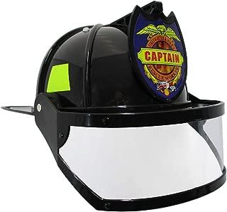Nicky Bigs Novelties Fire Chief Plastic Helmet with Folding Visor Costume, Black/Yellow, One Size