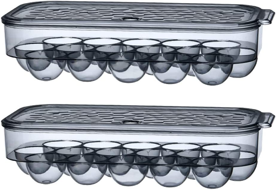 KaryHome 2 Pack Stackable Egg Holder for Refrigerator, Reusable Egg Cartons Egg Tray,Translucent Black …