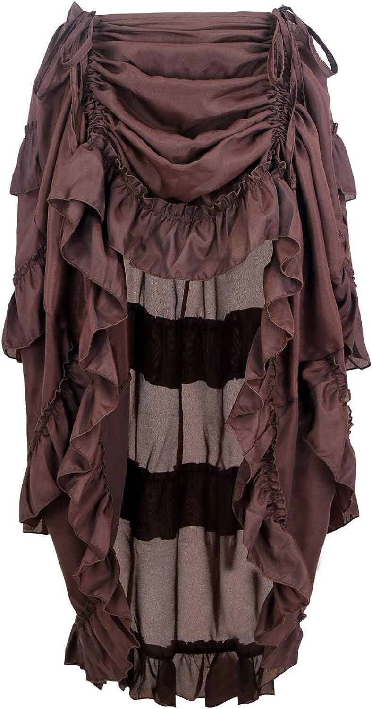 Charmian Women's Steampunk Gothic Low High free Skirt Cyberpunk Direct store