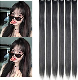 Grey Clip in Hairpieces Colored Long Straight Synthetic Hair Extensions Colorful Party Highlight Clip on Accessories for W...