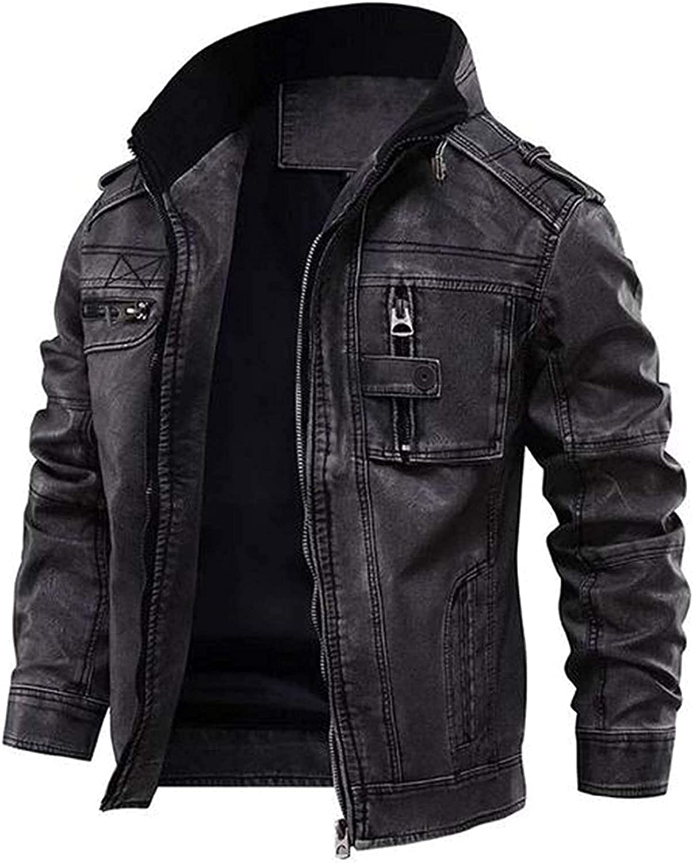 fjackets Leather Motorcycle Jacket - Lambskin Slim Fit Stand Collar Biker Jacket Men