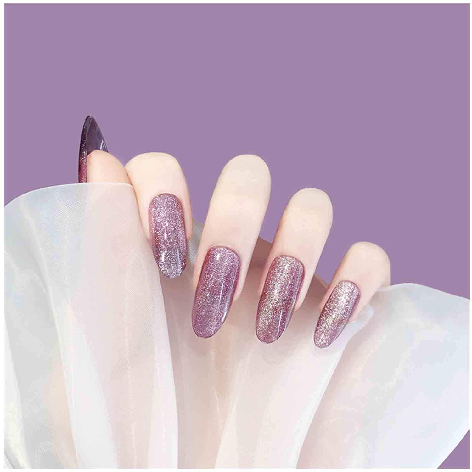 Olbye Shining Cat Eye Opening large release sale Fake Max 47% OFF Nails Long on Press Glitter Sol