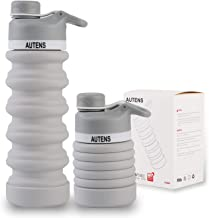 AUTENS Collapsible Water Bottle 550ml, Leak Proof, BPA Free, FDA Approved, Wide Mouth, Lightweight Food-Grade Silicone Fol...