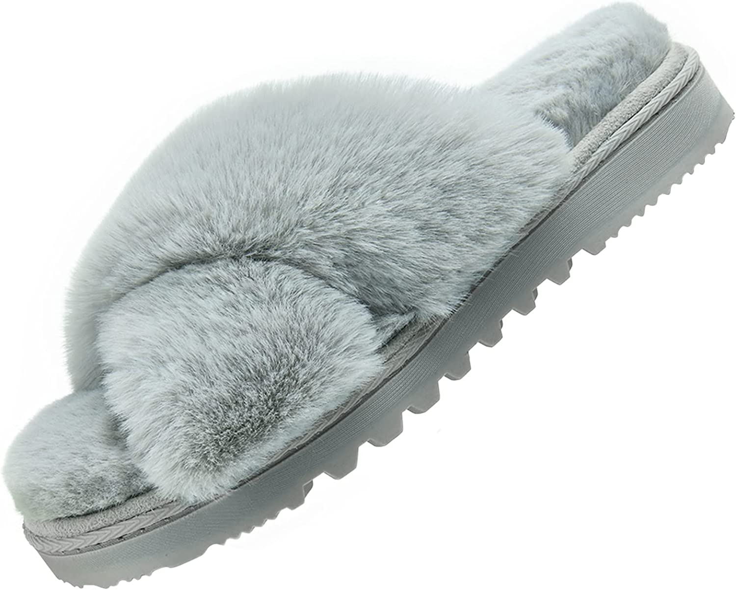 Telifor Womens-Fluffy-Memory-Foam-Cross-Band-Slippers Indoor low-pricing Fu outlet