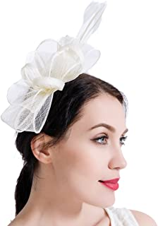 0bfac0d7aca7e Sinamay Vintage Women Fascinators Derby Hat Feather with Headband Cocktail  Headpiece for Tea Party Wedding