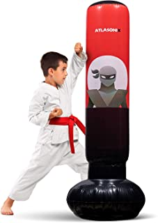 Inflatable Kids Punching Bag – Free Standing Ninja Boxing Bag for Immediate Bounce-Back..