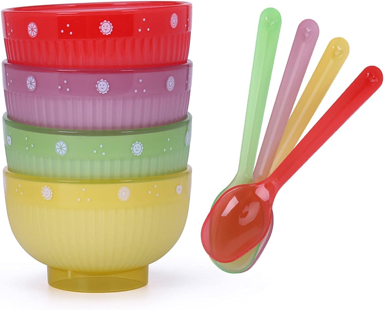Juego de 4 Cuencos Para Cereales, Cuenco de Plastico, Cuencos Redondos Para Cereales con Cuchara, Se Puede Utilizar Como Tazón de Sopa, Tazón de Cereales(Cuatro Colores)