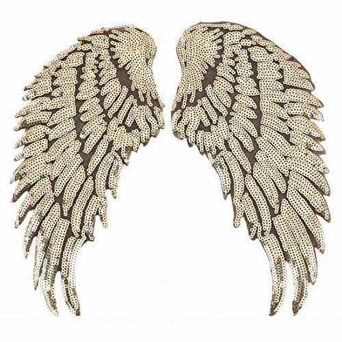 1 par de alas de ángel con lentejuelas para planchar o bordar, para chaquetas, ropa, decoración del día de San Valentín dorado